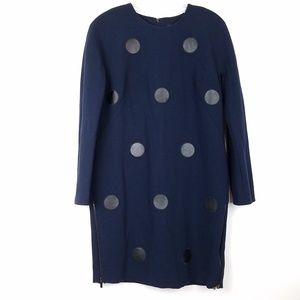 ANN TAYLOR Women's Shift Dress L/S Polka Dot Faux
